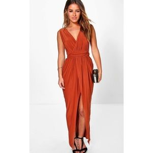Rust Red Plunging Wrap Maxi Dress